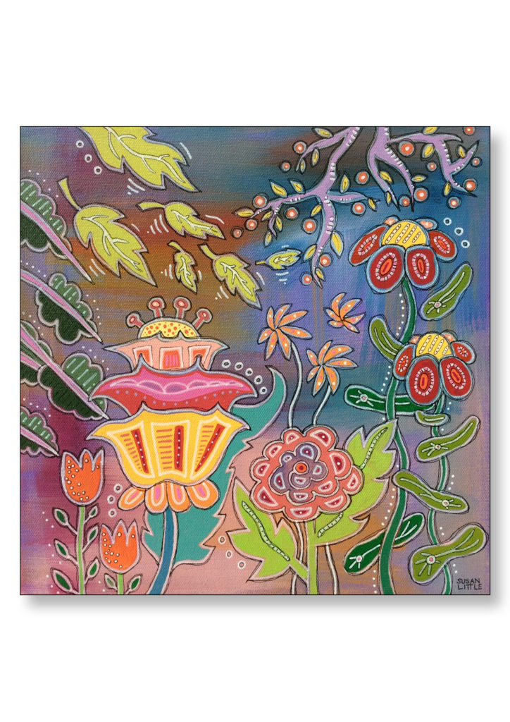 "'Floral Fantasy' $225.00 on gallery wrapped canvas 12""x12"""