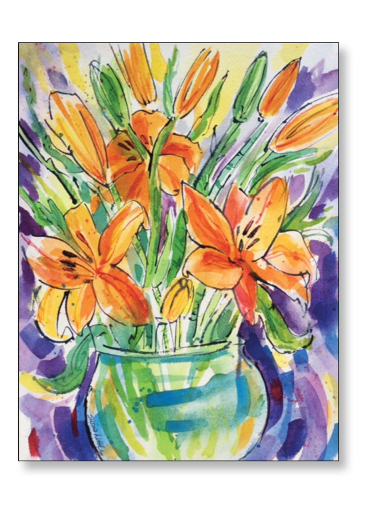 "Orange Lilies' $300.00 16""x19"" Framed"