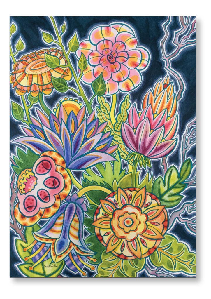 "'Floral Frenzy' $450.00 24""x30"" Framed"