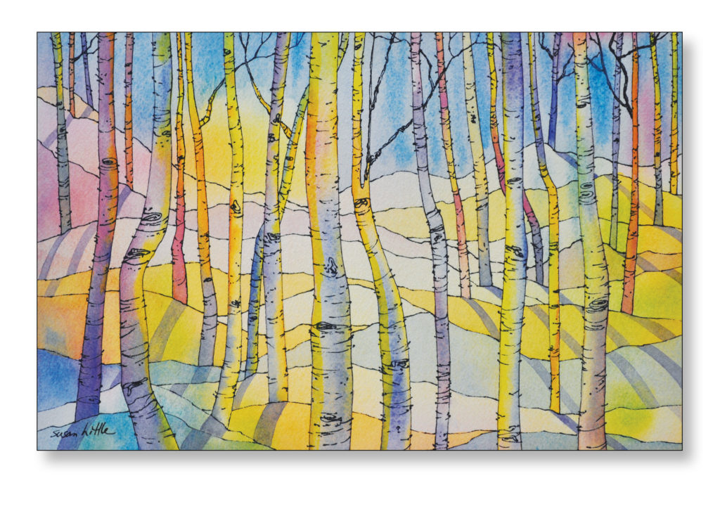 Watercolour Painting Into The Forest