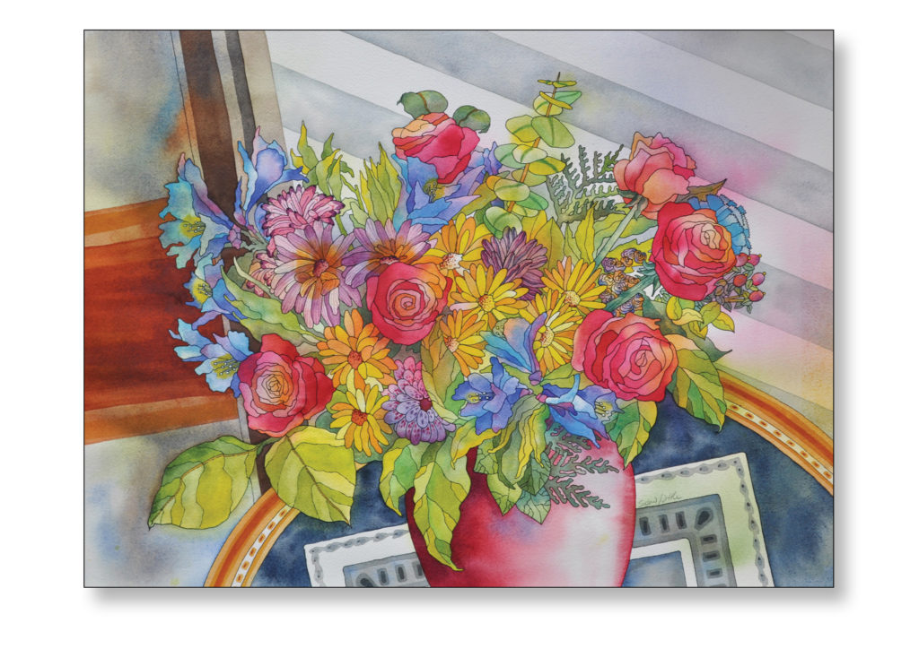 "'Vicky's Bouquet' $400.00 29""x25"" Framed"