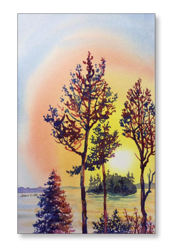 "'Lake Muskoka Sunset' $150.00 10""x6 1/2"" unframed"